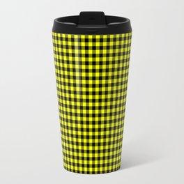 Mini Black and Bright Yellow Cowboy Buffalo Check Travel Mug