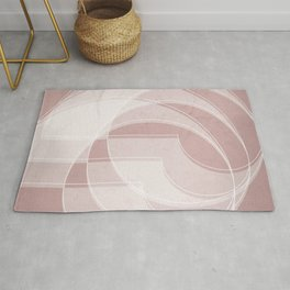Spacial Orbiting Spiral in Shell Pink Rug