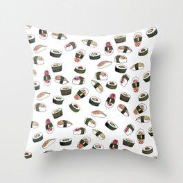 Sushi on White Throw Pillow