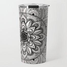 Elegant faux silver glitter black henna mandala Travel Mug