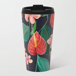 watercolor tropical flowers Travel Mug