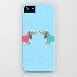 Cute dogs in love with dots in blue background iPhone Case