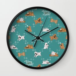 Tummy Rubs Please! (Poodles) Wall Clock