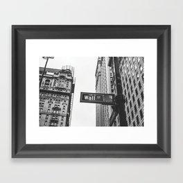 Wall street bw Framed Art Print