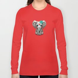 Teal Blue Day of the Dead Sugar Skull Baby Elephant Long Sleeve T-shirt