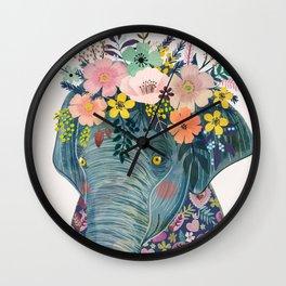 Elephant with flowers on head Wall Clock