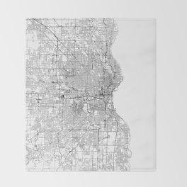 Milwaukee White Map Throw Blanket