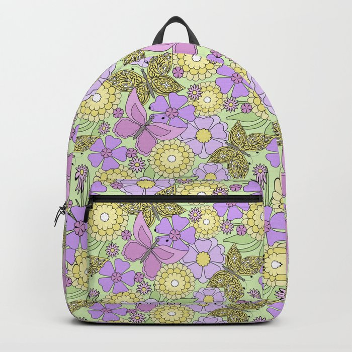 Bright floral pattern with butterflies. Backpack