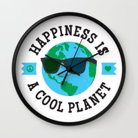 Happiness Is A Cool Planet Wall Clock