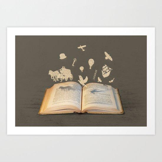 Words Take Flight (on Grey) Art Print