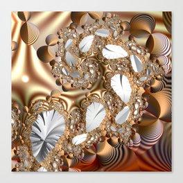 Silver leaves on golden glow -- A fractal landscape Canvas Print