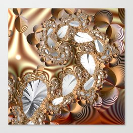 Silver leaves on golden glow -- A fractal landscape Canvas Print
