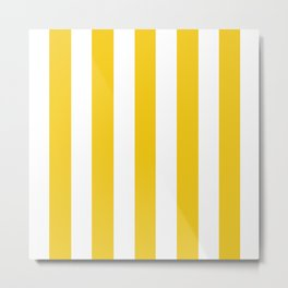 Jonquil yellow - solid color - white vertical lines pattern Metal Print
