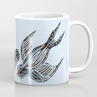 swallow Mugs featuring Swallow love by Isobel Woodcock Illustration