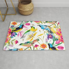 Birds Colourful Floral Motif Pattern Tropical decor Spring Flowers Rug