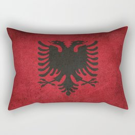 Old and Worn Distressed Vintage Flag of Albania Rectangular Pillow