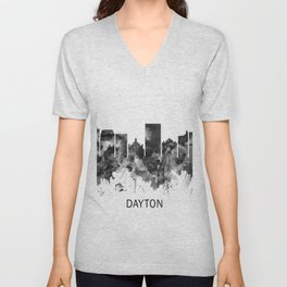 Dayton Ohio Skyline BW Unisex V-Neck