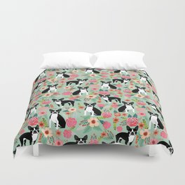 Boston Terrier florals dog breed pattern must have pupper gifts dog lovers Duvet Cover