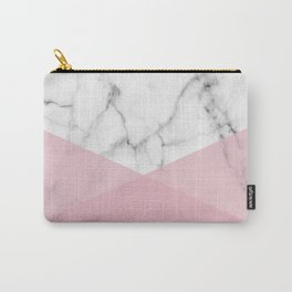 Real White marble Half Rose Pink Modern Shapes Carry-All Pouch