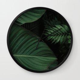 Tropical Beauty // Tropical Boho Leaves meets Minimalist Patterns Wall Clock