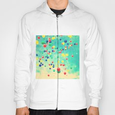 Let your wishes fly (Colour balloons in vintage - retro turquoise sky) Hoody