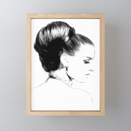 Woman Portrait Fashion Minimal Drawing Framed Mini Art Print