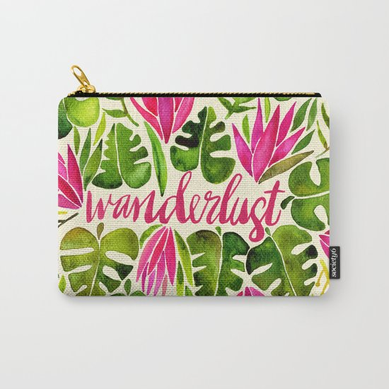 Tropical Wanderlust – Pink & Lime Carry-All Pouch