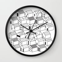 architect Wall Clocks featuring Architect and Little Houses by lllg