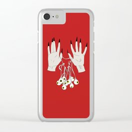 Creepy Hands Holding Eyes Clear iPhone Case