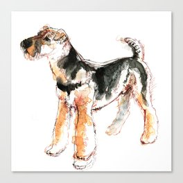 Airedale Terrier Watercolor #2 Canvas Print