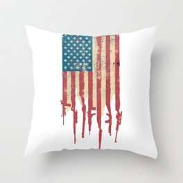 Distressed USA American Flag Made of Guns and Rifles Throw Pillow