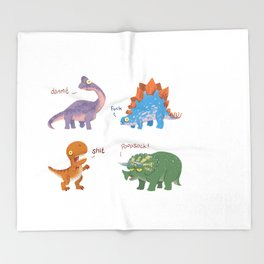 Potty Mouth Dinos Group Throw Blanket