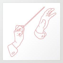 line art music hands Art Print