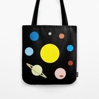 solar system Tote Bags featuring Solar System by fairandbright