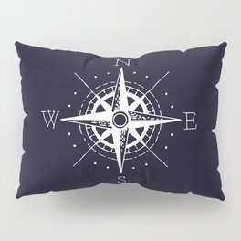 Navy Nautical - White Compass Pillow Sham