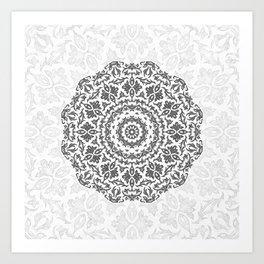 Bohemian Glittering Floral Mandala Art Print