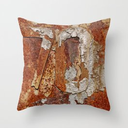 Very old rusty metal wall surface Throw Pillow