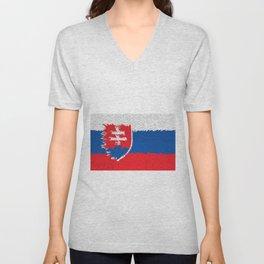 Extruded flag of Slovakia Unisex V-Neck