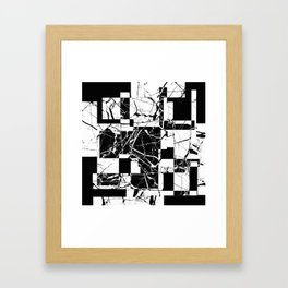 Manipulated Marble - Black and white, abstract, geometric, marble style art Framed Art Print