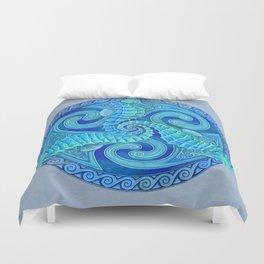 Seahorse Triskele Celtic Blue Spirals Mandala Duvet Cover