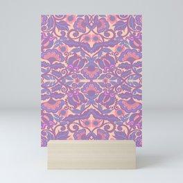 Purple Vines Folk Art Flower Pattern Mini Art Print