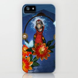 Funny cute parrot with flowers iPhone Case