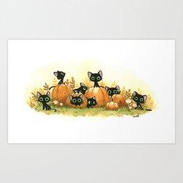 Black cats and pumpkins Art Print