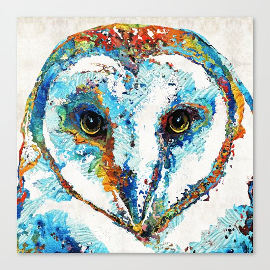 Colorful Barn Owl Art - Birds by Sharon Cummings Canvas Print