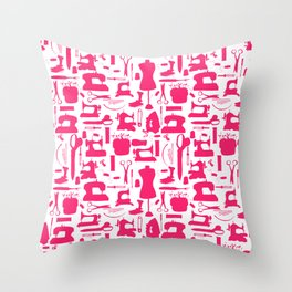 Sewing tools silhouetes. Throw Pillow