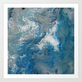 Blue Waves, abstract poured acrylic, blue, white, silver and black Art Print