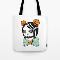 alisa burke Tote Bags featuring cavity cutie I by Ally Burke