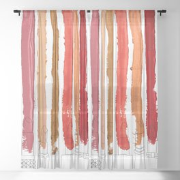Lipstick Stripes - Red Orange Gold Sheer Curtain