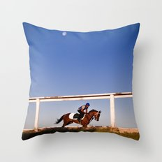 A rider and a horse Throw Pillow