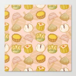 Dimsum everywhere! [peach] Canvas Print